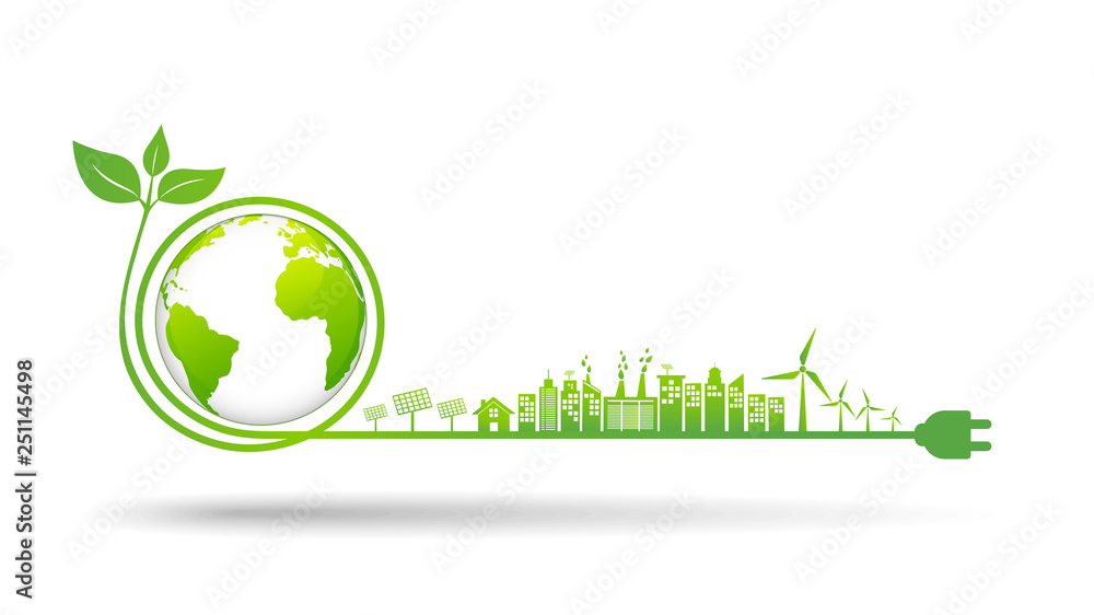 Fototapeta World environment and sustainable development concept, vector illustration