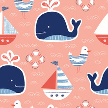 Whimsical Cute, Hand-Drawn With Crayons, Whale, Ship, Seagull, Lifebuoy Vector Seamless Pattern. Nautical Sea Creatures