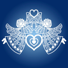 Two Angels With A Trumpet And A Heart. Template For Laser Cutting. For Design, Openings, Greetings, Interior Elements. For Cutting From Paper, Metal, Wood. Vector
