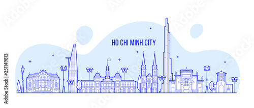Foto  Ho Chi Minh skyline Vietnam city buildings vector