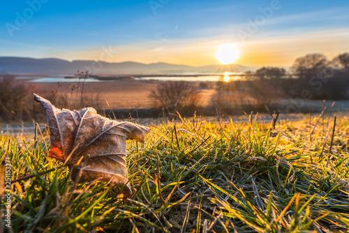 Vászonkép  Sonnenaufgang am Leinepolder, Geschiebesperre in Einbeck mit einem rauhreif über