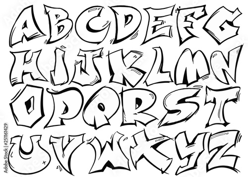 Poster Graffiti English alphabet vector from A to Z in graffiti black and white style.