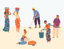 African Character Hard Working Set Design Style. Women Wear Basket On Head. Man Plows Field. People Gain Water In Bucket. Everyone Satisfied Work, Helping Community. Flat Cartoon Vector Illustration