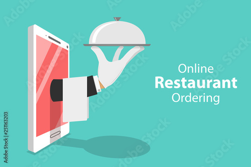 Carta da parati Flat isometric vector concept of table online reservation, mobile booking, food ordering and delivery