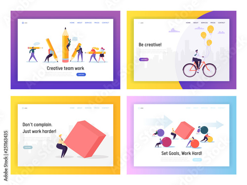 Photo  Business People Competition Concept Landing Page Set