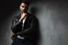 Attractive Man In Leather Jack...