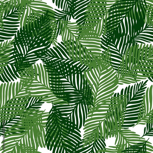 Fotobehang Tropische bladeren Cute floral seamless pattern tropical leaves, Fashion, interior, wrapping consept.