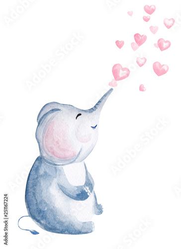 Obraz na plátně Hand drawn watercolor elephant blowing heart shaped bubbles
