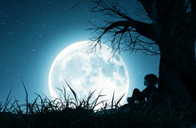 Lonely Girl Sitting Alone Under The Tree And Looking To The Moon,3d Rendering