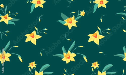 Fotomural Seamless pattern of  small narcissus flowers with green leaves