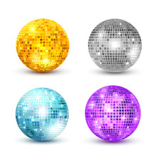 Disco Ball Isolated Set Illustration. Night Club Party Light Element. Bright Mirror Golden Ball Design For Disco Dance Club