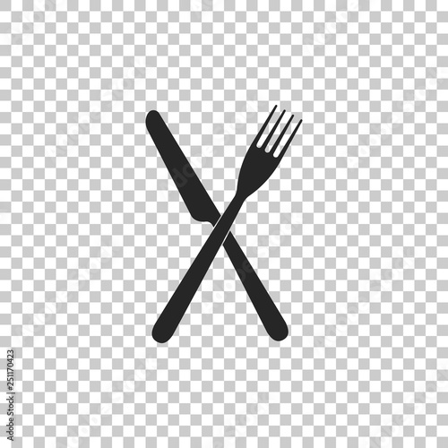 Foto Crossed fork and knife icon isolated on transparent background