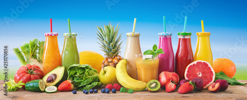 Recess Fitting Juice Colorful freshly squeezed fruits and vegetables smoothies with ingredients for healthy eating