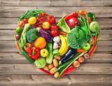 Fototapeta Fototapety do kuchni - Heart shape by various vegetables and fruits