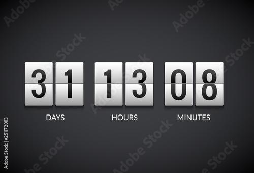 Cuadros en Lienzo Clock counter countdown flip scoreboard vector timer