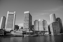 Boston Financial District Skyline From The Harborwalk