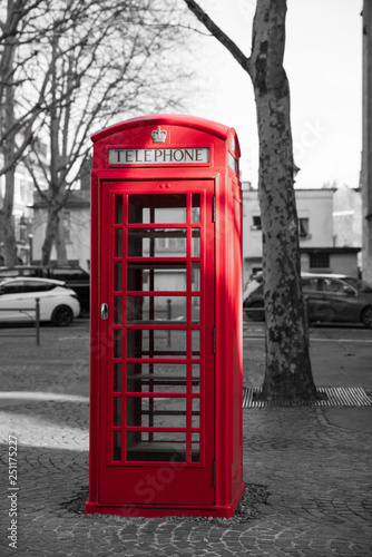Fotografie, Obraz  Red English style telephone booth on a square in the city of Arras in France wit