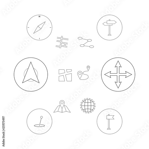 Thin Line Icons Set Gps Geo Location Navigation And Transportation