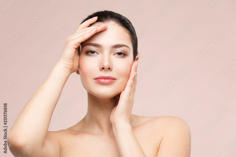 Fototapety, obrazy: Woman Natural Beauty Makeup Portrait, Fashion Model Touching Face by Hands, Beautiful Girl Skin Care and Treatment
