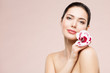 Woman Natural Beauty Makeup Portrait with Orchid Flower, Beautiful Girl Skin Care and Treatment