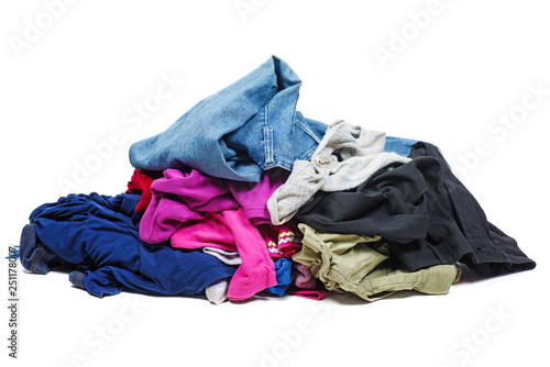 Obraz Pile of old, used clothes isolated on white - fototapety do salonu