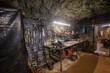 Underground gold ore mine shaft tunnel gallery passage with load, haul, dump machine LHD