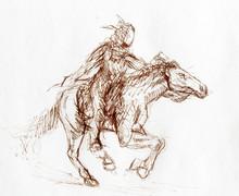 Sketch Of A Native American Ma...