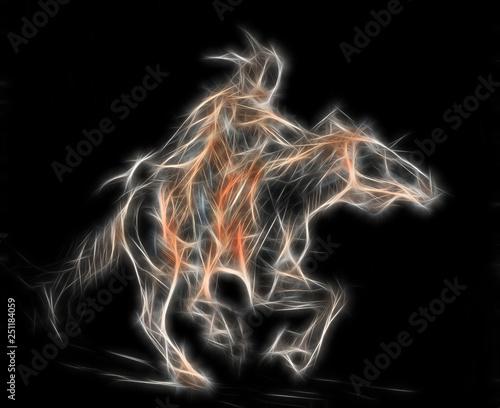 Fototapeta sketch of a native american man riding on a horse, fractal effect