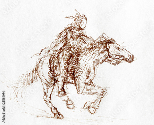 Stampa su Tela sketch of a native american man riding on a horse.
