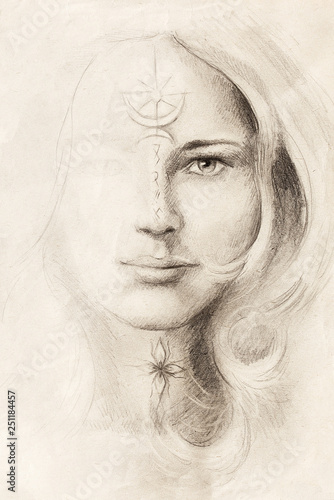 Tuinposter Illustratie Parijs mystical woman portrait drawing with symbols, emerging from light.