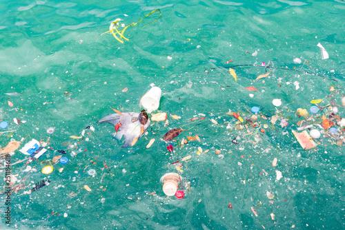 Fototapeta Plastic and waste in ocean is making water pollution obraz