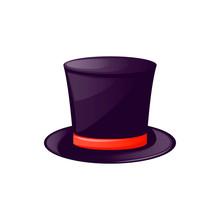 Vintage Man's Top Hat Label Traditional Black Costume. Design Gentleman Cap Template Accessory For Label, Banner, Badge, Logo Vector Illustration.