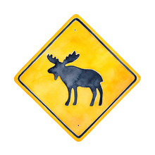 Warning Road Sign Illustration With Wild Moose Character Silhouette. Square Shape, Bright Yellow Color With Black Border. Handdrawn Watercolour Painting, Cutout Element For Stylish Design Decoration.