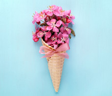 Waffle Cone With Bouquet Of Flowers