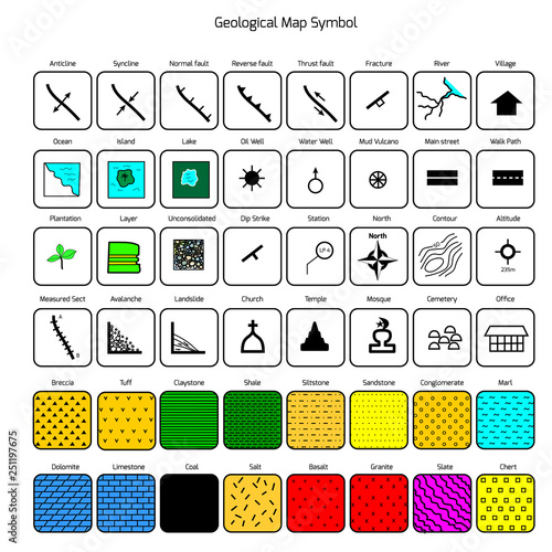 Geological map symbol and icon with lithology legend - Buy