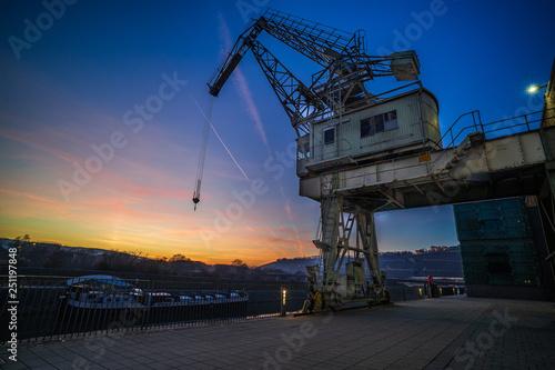 Foto auf AluDibond Schiff Alter Hafen in Würzburg