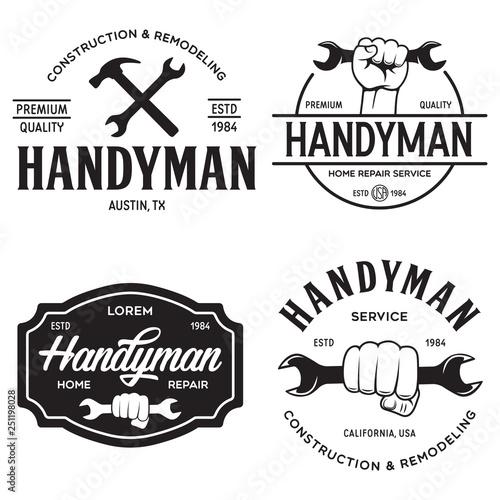 Obraz Handyman labels badges emblems and design elements. Tools silhouettes. Carpentry related vector vintage illustration. - fototapety do salonu
