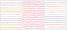 Set Of 3 Cute Abstract Geometric Vector Patterns. Light Multicolor Design. Brushed Style Waves On A White And Pink Background.  Irregular Infantile Style Waves.Blue, Pink, Yellow And White Design.
