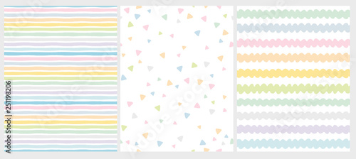 fototapeta na drzwi i meble Set of 3 Cute Abstract Geometric Vector Patterns. Light Multicolor Design. Stripes, Triangles and Waves. White Background. Irregular Infantile Style Waves. Blue, Pink, Yellow, Green and White Design.