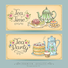 Card Collection Of Hand-drawn Cakes. Vintage Posters Of Bakery Sweet Shop. Freehand Drawing, Sketch