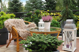 Fototapeta Kwiaty - Odpoczynek na tarasie