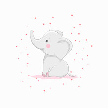 Cute Vector Illustration With Elephant Baby For Baby Wear And Invitation Card.