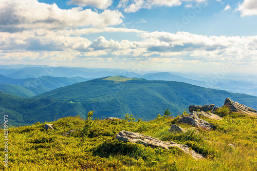 stones on grassy alpine meadow. view from the edge of a hill. beautiful summer landscape in mountains. wonderful sunny weather. fluffy clouds on the sky. - 251199673