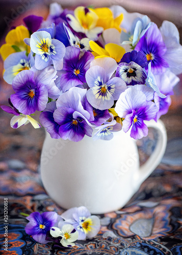 Garden Poster Pansies Photo of a beautiful purple pansy flowers close-up in a mug on a colorful background. Beautiful and delicate flowers.