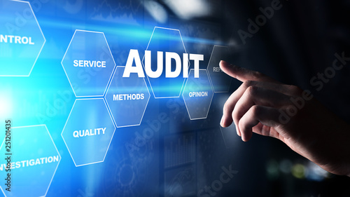 Audit - official financial examination for business as concept on virtual screen Canvas Print