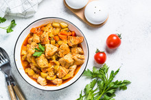 Chicken Stew With Vegetables, Top View.