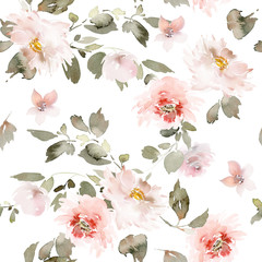 FototapetaSeamless summer pattern with watercolor flowers handmade.