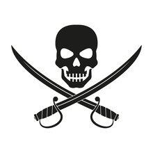 Jolly Roger With Crossed Swords. Pirate Flag Emblem With A Skull And Two Sabers Or Scimitar Swords. Vector Illustration.