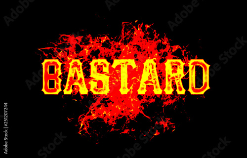 bastard word text logo fire flames design with a grunge or grungy texture Wallpaper Mural