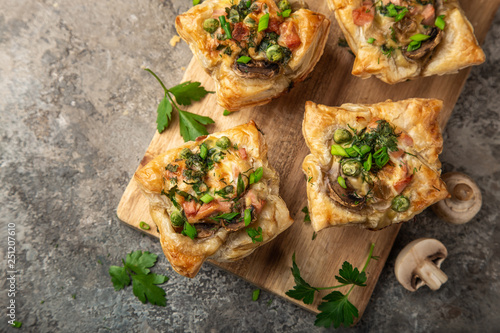 savory puff muffins with ham, mushroom and   vegetables Wallpaper Mural